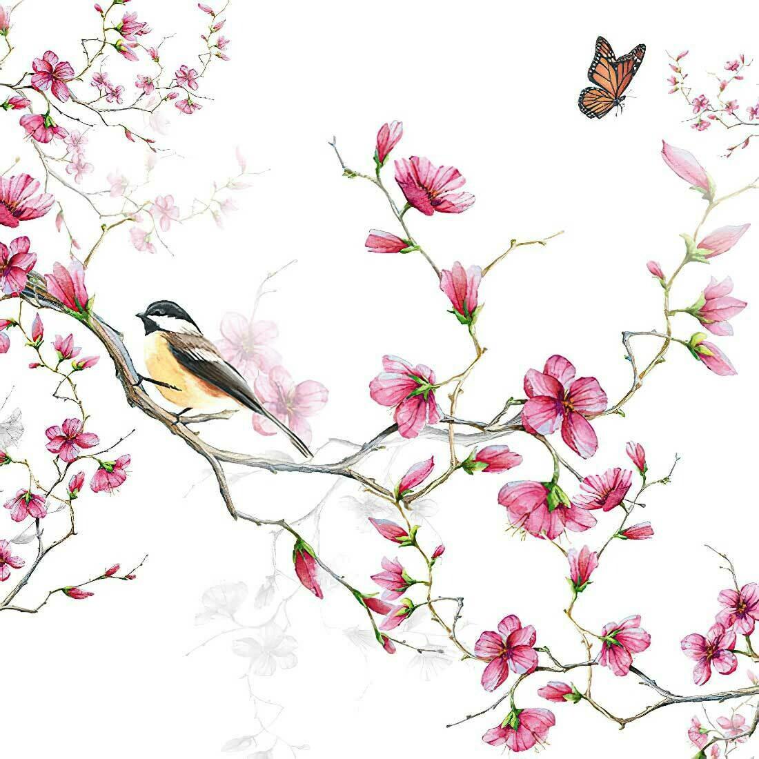 Decoupage Paper Napkins - Bird & Blossom White (1 Sheet)