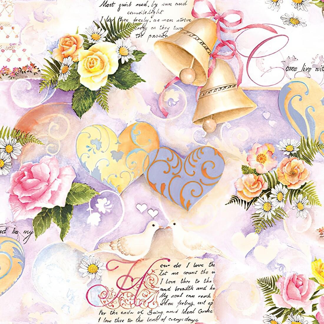 Decoupage Paper Napkins - Floral - Wedding Bells Rose (1 Sheet)