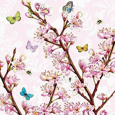 Decoupage Paper Napkins - Butterfly- Blossom Rose (1 Sheet)