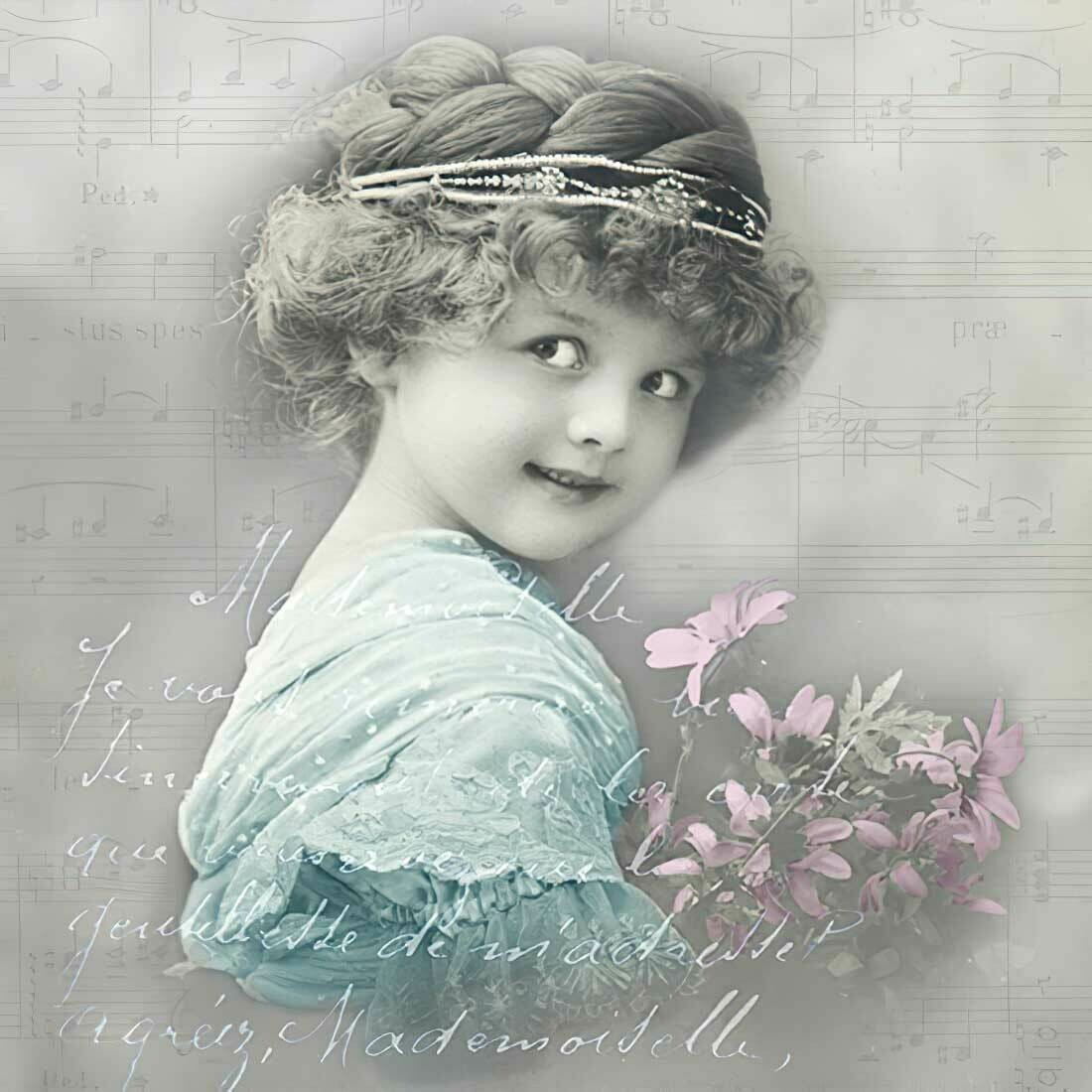 Decoupage Paper Napkins - Vintage - Turquoise Girl -13x13 (1 Sheet)