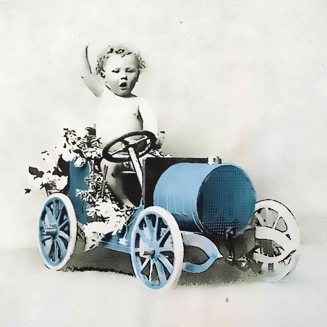 Decoupage Paper Napkins - Vintage - Boy in Car -13x13 (1 Sheet)
