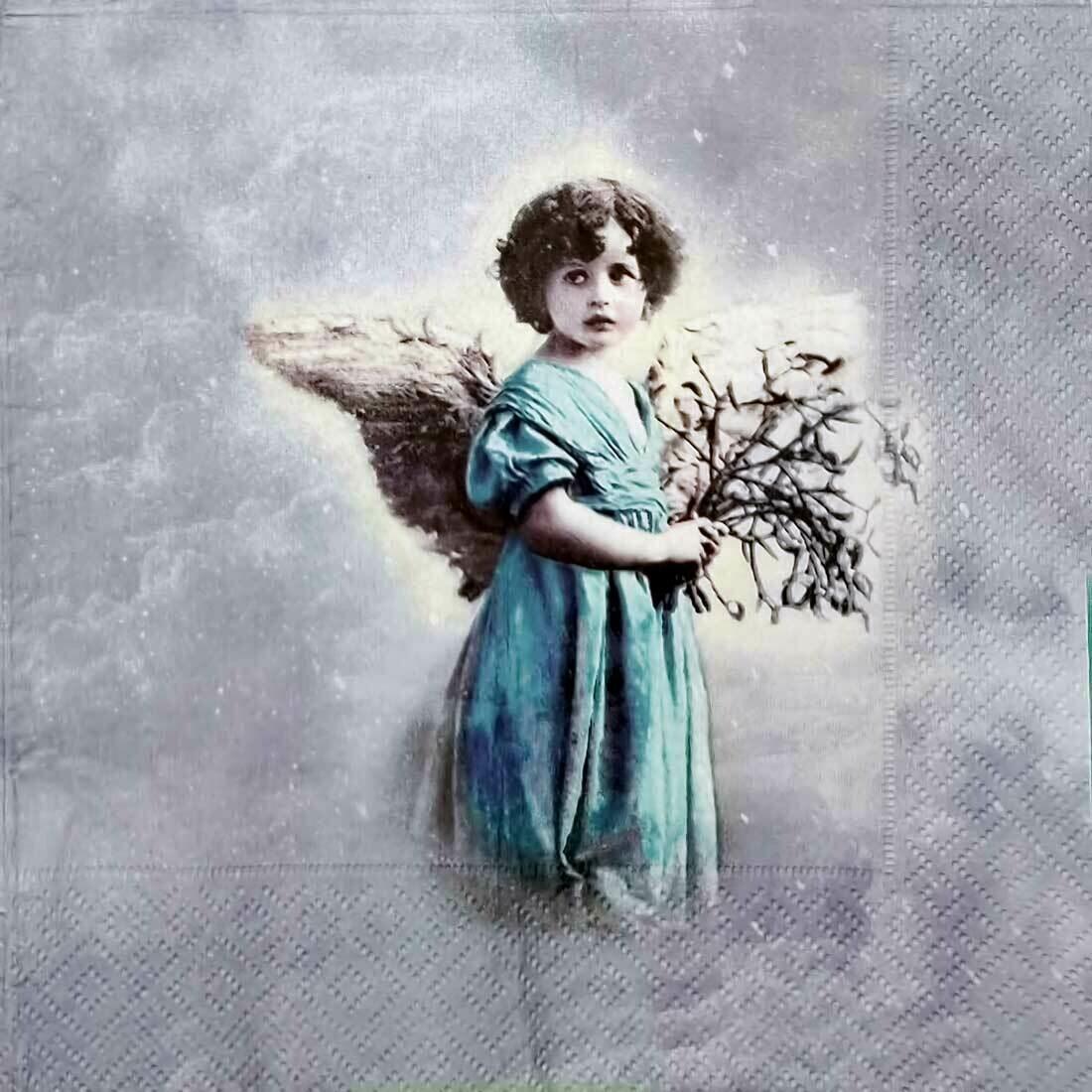 Decoupage Paper Napkins - Vintage - Angel Flower -13x13 (1 Sheet)