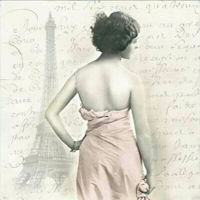 Decoupage Paper Napkins - Vintage - Paris Lady -13x13 (1 Sheet)
