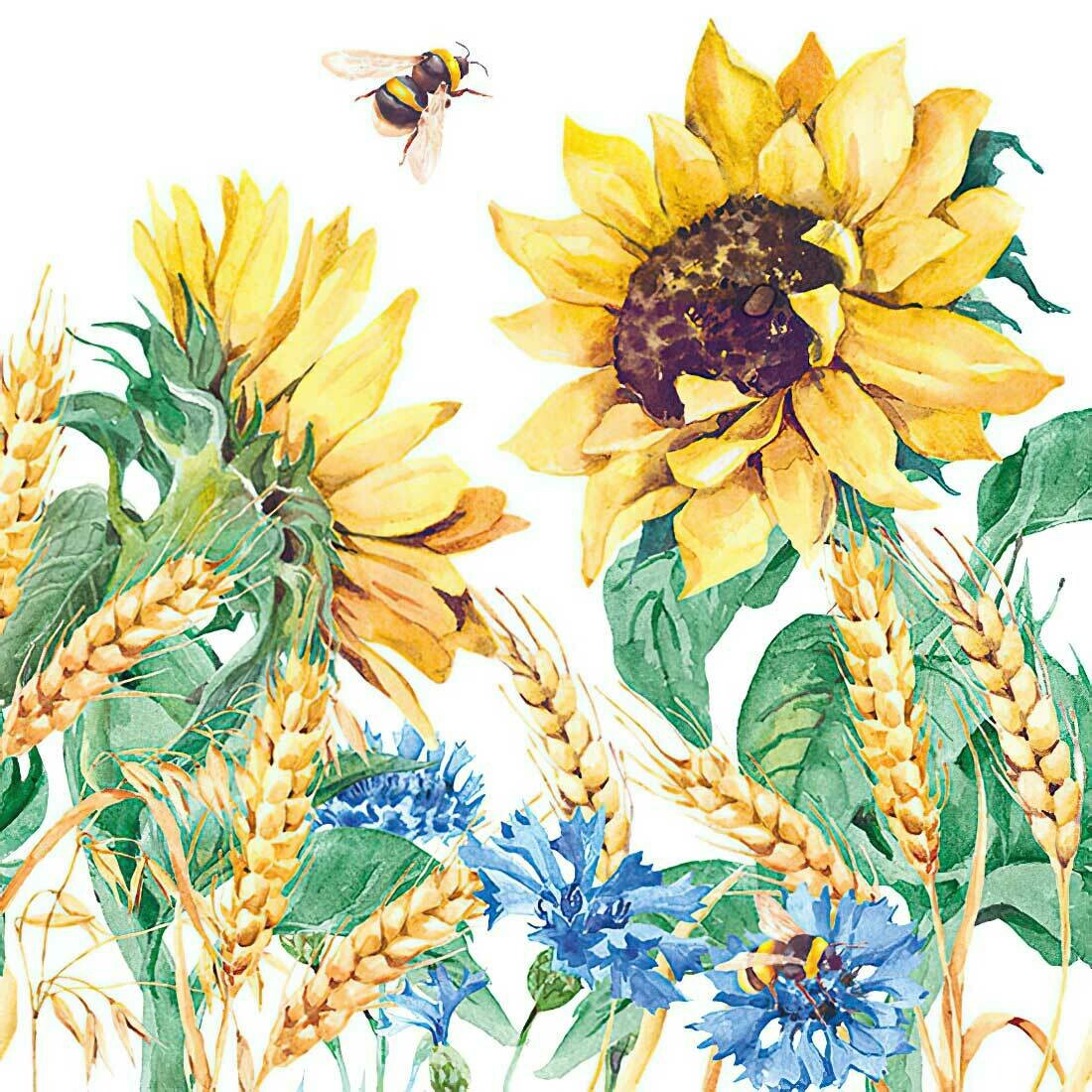 Decoupage Paper Napkins - Floral - Sunflower & Wheat (1 Sheet)