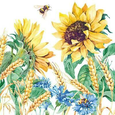 Decoupage Paper Napkins - Floral - Sunflower & Wheat (1 Sheet)
