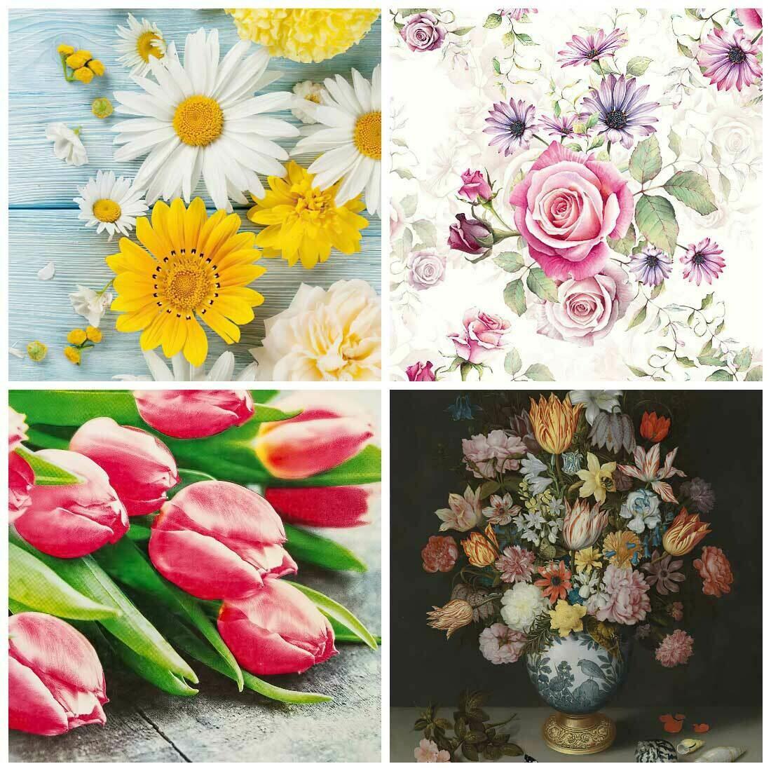 Decoupage Paper Napkins - Floral 20 13x13 (4 Sheets)