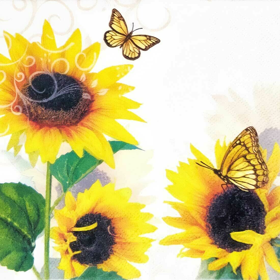 Decoupage Paper Napkins - Floral - Sunny Butterfly (1 Sheet)