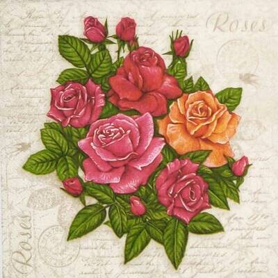 Decoupage Paper Napkins - Floral - Postcard with Roses (1 Sheet)