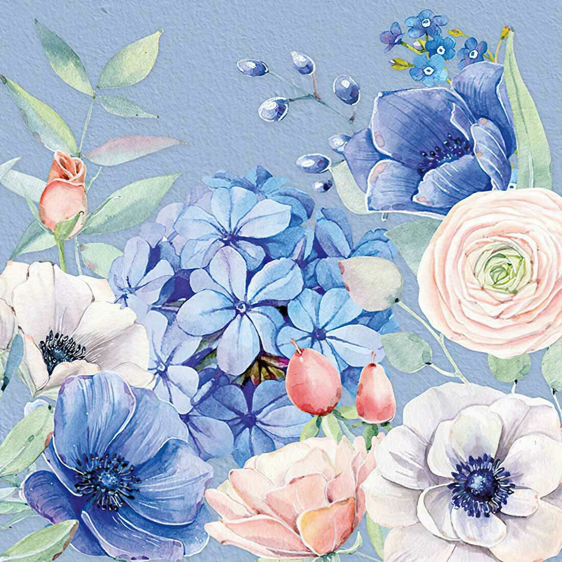 Decoupage Paper Napkins - Floral - Blooming Mystery  (1 Sheet)