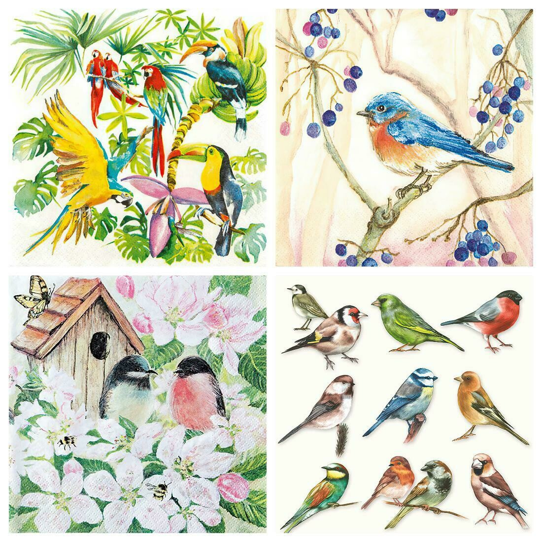 Decoupage Paper Napkins - Bird Print 10 (4 Sheets)