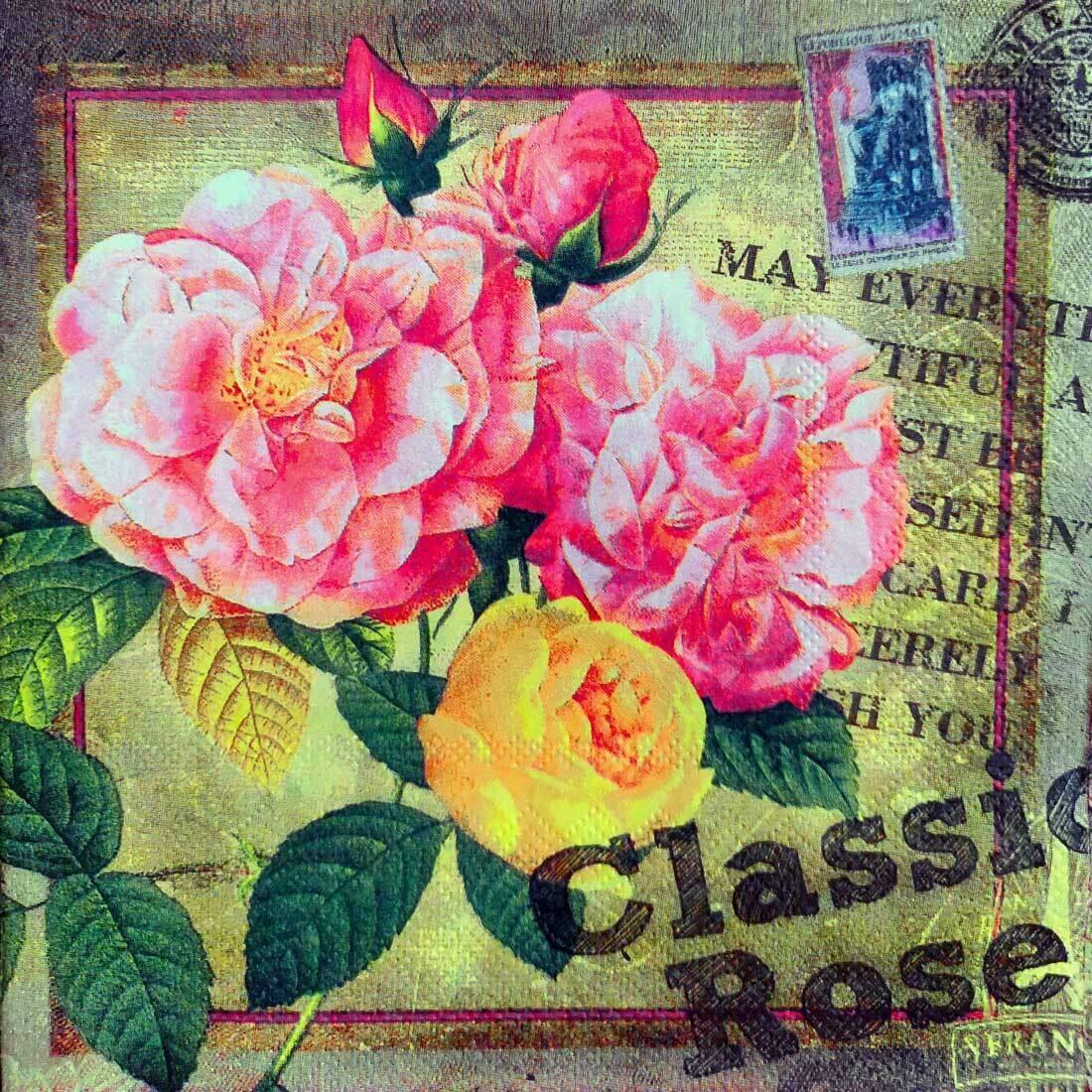 Decoupage Paper Napkins - Floral - Classic Rose (1 Sheet)