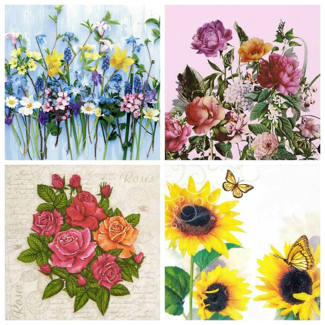 Decoupage Paper Napkins - Floral 22 13x13 (4 Sheets)