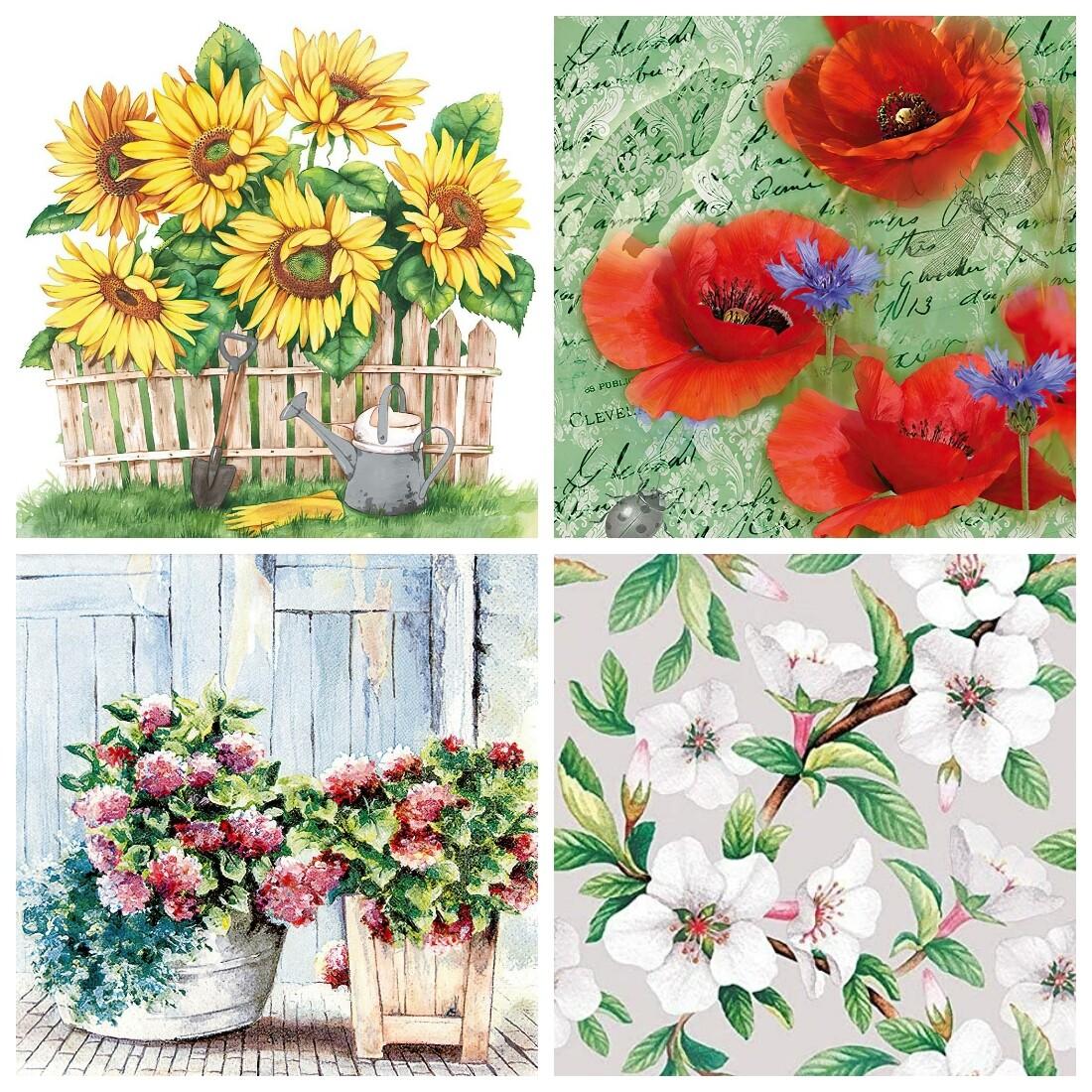 Decoupage Paper Napkins - Floral 23 13x13 (4 Sheets)