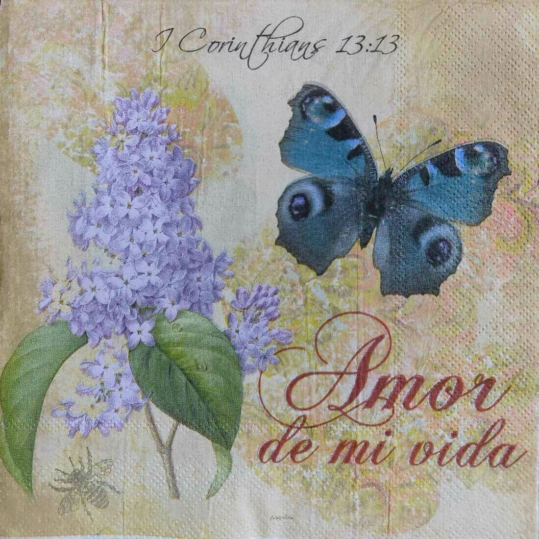 Decoupage Paper Napkins - Floral - Amor Butterfly (1 Sheet)