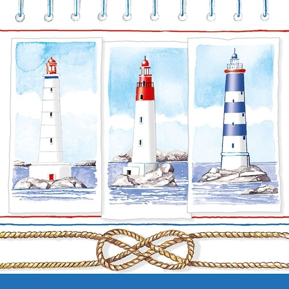 Decoupage Paper Napkins - Marine - Lighthouses 13x13 (1 Sheet)