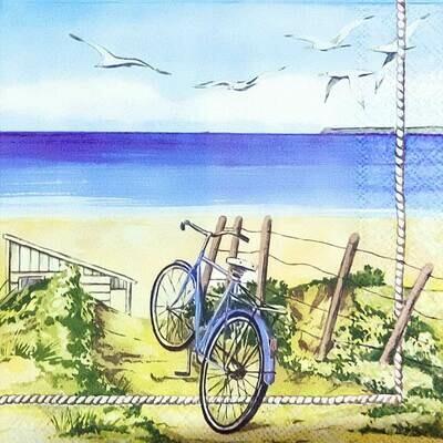 Decoupage Paper Napkins - Beach Bicycle 13x13 (1 Sheet)