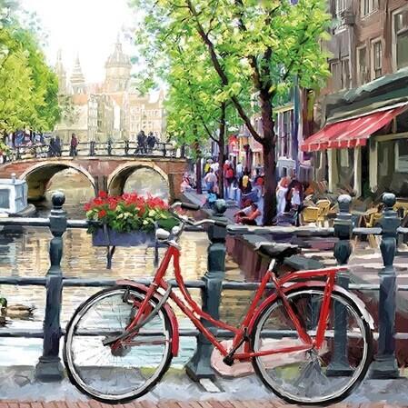 Decoupage Paper Napkins -Amsterdam Canal 13x13 (1 Sheet)