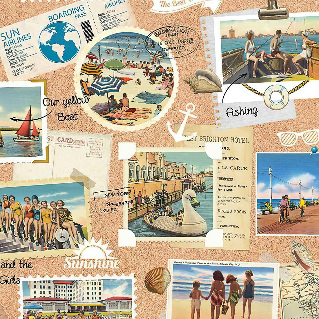 Decoupage Paper Napkins - Vacation Scrapbook 13x13 (1 Sheet)
