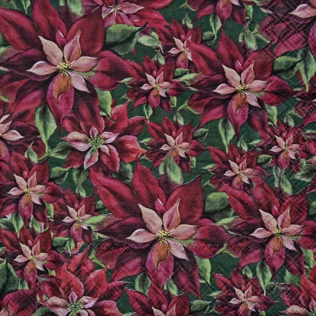 Decoupage Paper Napkins - Floral - Poinsettia Green (1 Sheet)
