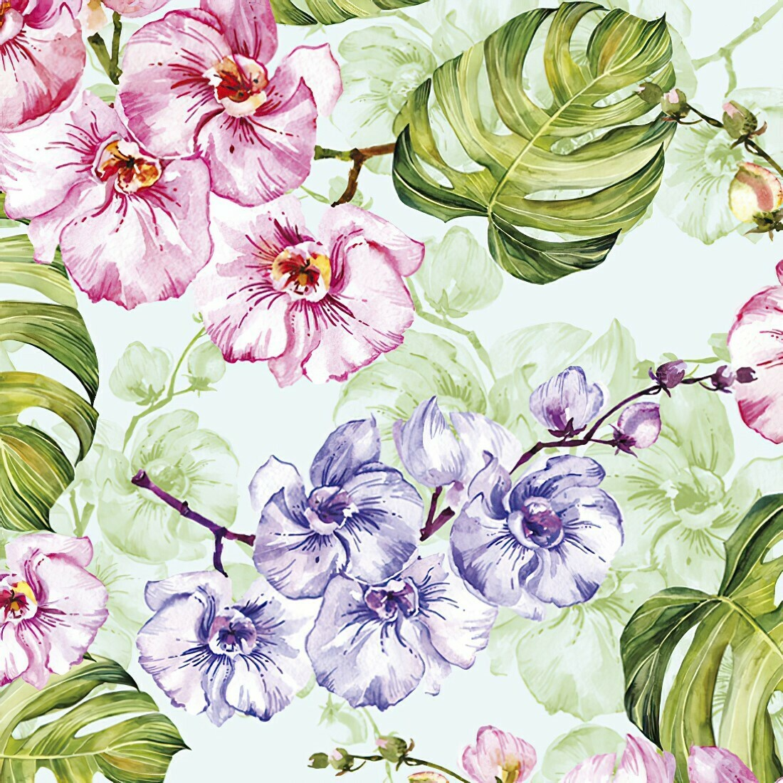 Decoupage Paper Napkins - Floral - Wild Orchid w/ Monstera (1 Sheet)