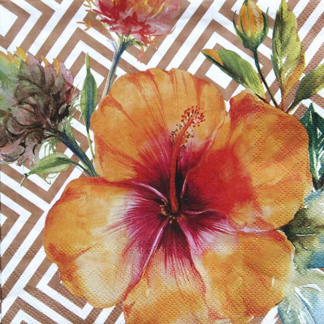 Decoupage Paper Napkins - Floral - Tropical Hibiscus Copper(1 Sheet)