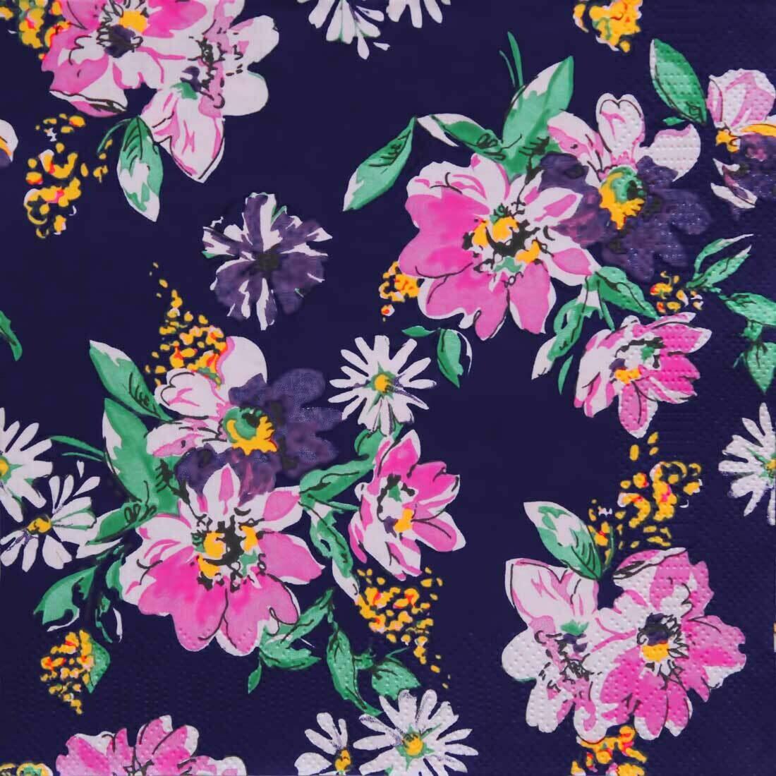 Decoupage Paper Napkins - Floral - Flower Meadow Pattern Dark Blue (1 Sheet)