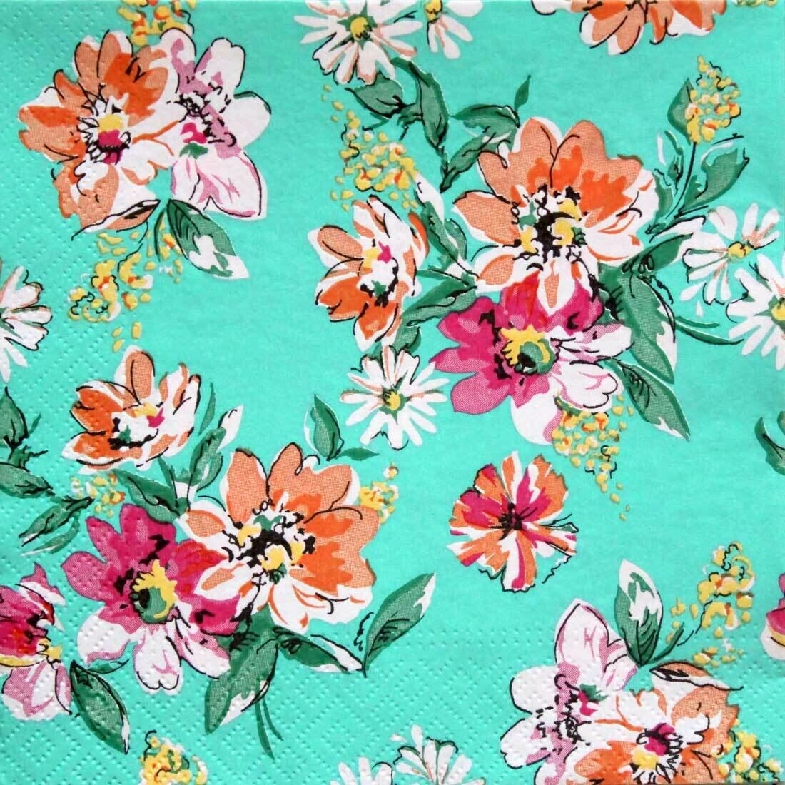Decoupage Paper Napkins - Floral - Flower Meadow Pattern Turquoise (1 Sheet)