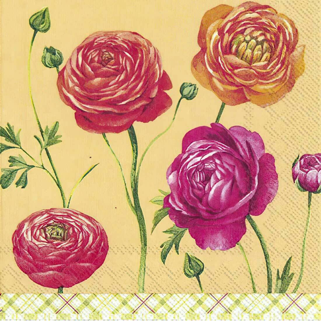 Decoupage Paper Napkins - Floral - Buttercups Orange (1 Sheet)