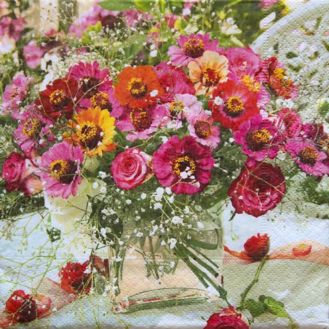 Decoupage Paper Napkins - Floral - Garden Zinnias (1 Sheet)