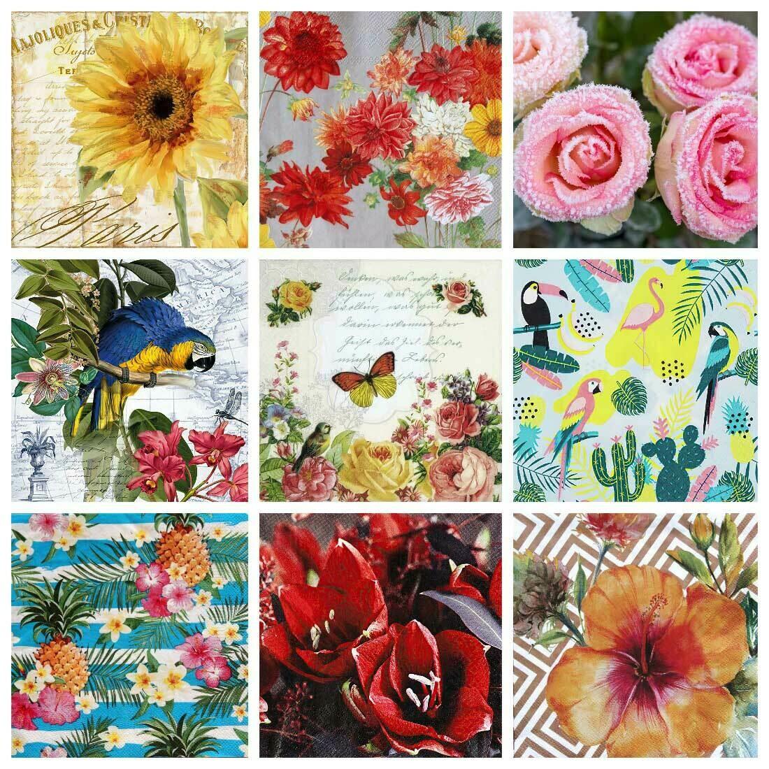 Decoupage Paper Napkins - Floral - Mixed Theme (9 Sheets)