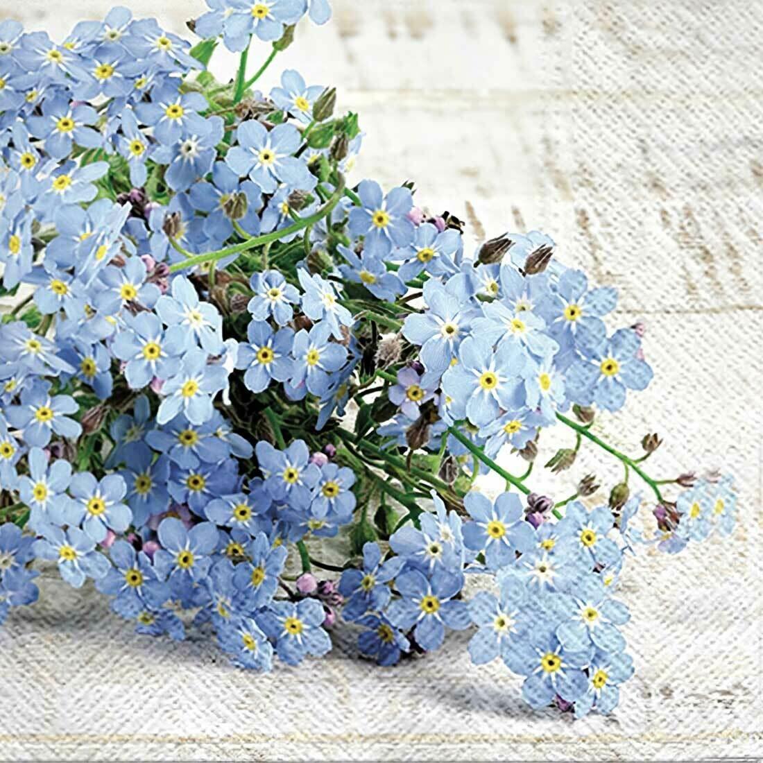 Decoupage Paper Napkins - Floral - Forget Me Not (1 Sheet)