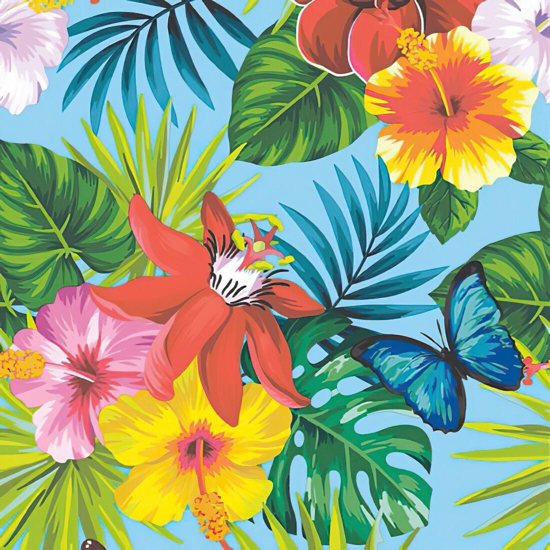 Decoupage Paper Napkins - Floral - Jungle Fever Teal Blue (1 Sheet)