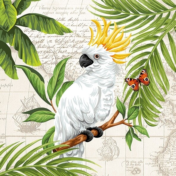 Decoupage Paper Napkins - Bird - Cockatoo  (1 Sheet)