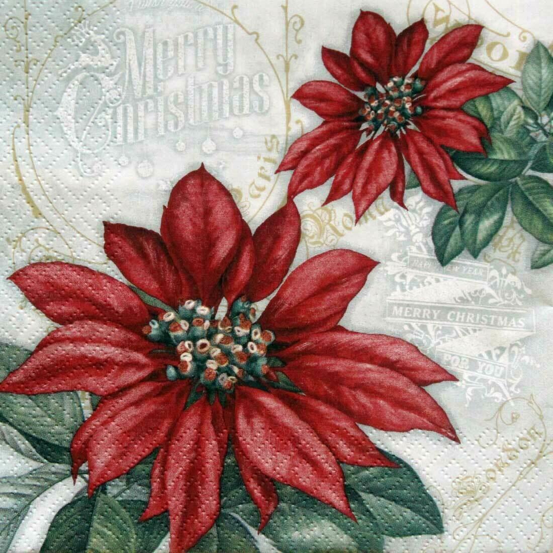 Decoupage Paper Napkins - Floral - Flores De La Navidad Red (1 Sheet)