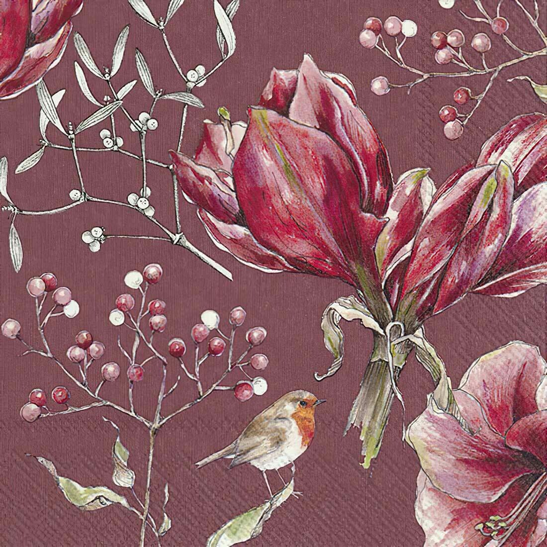 Decoupage Paper Napkins - Floral - Winter Amaryllis (1 Sheet)