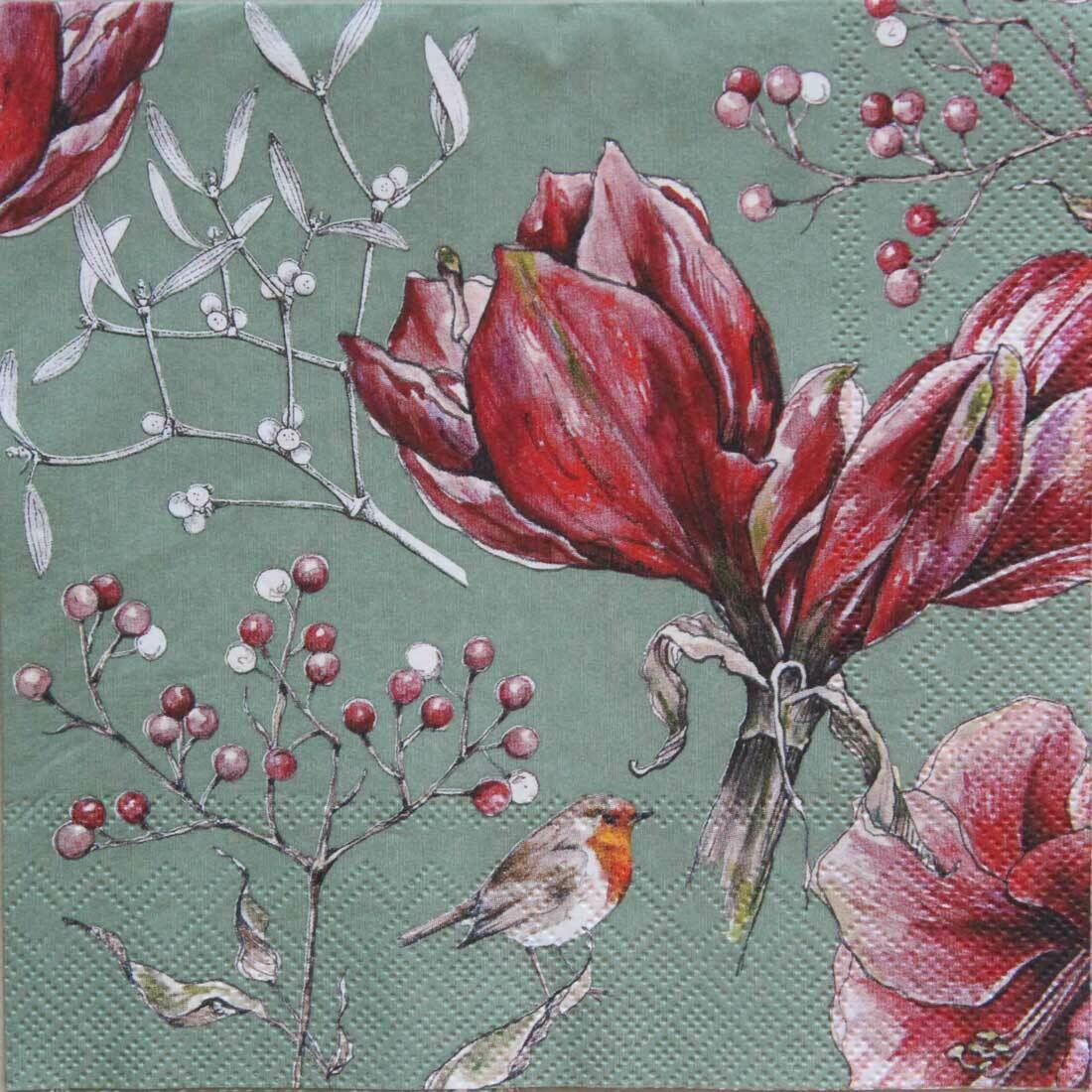 Decoupage Paper Napkins - Floral - Winter Amaryllis Green (1 Sheet)