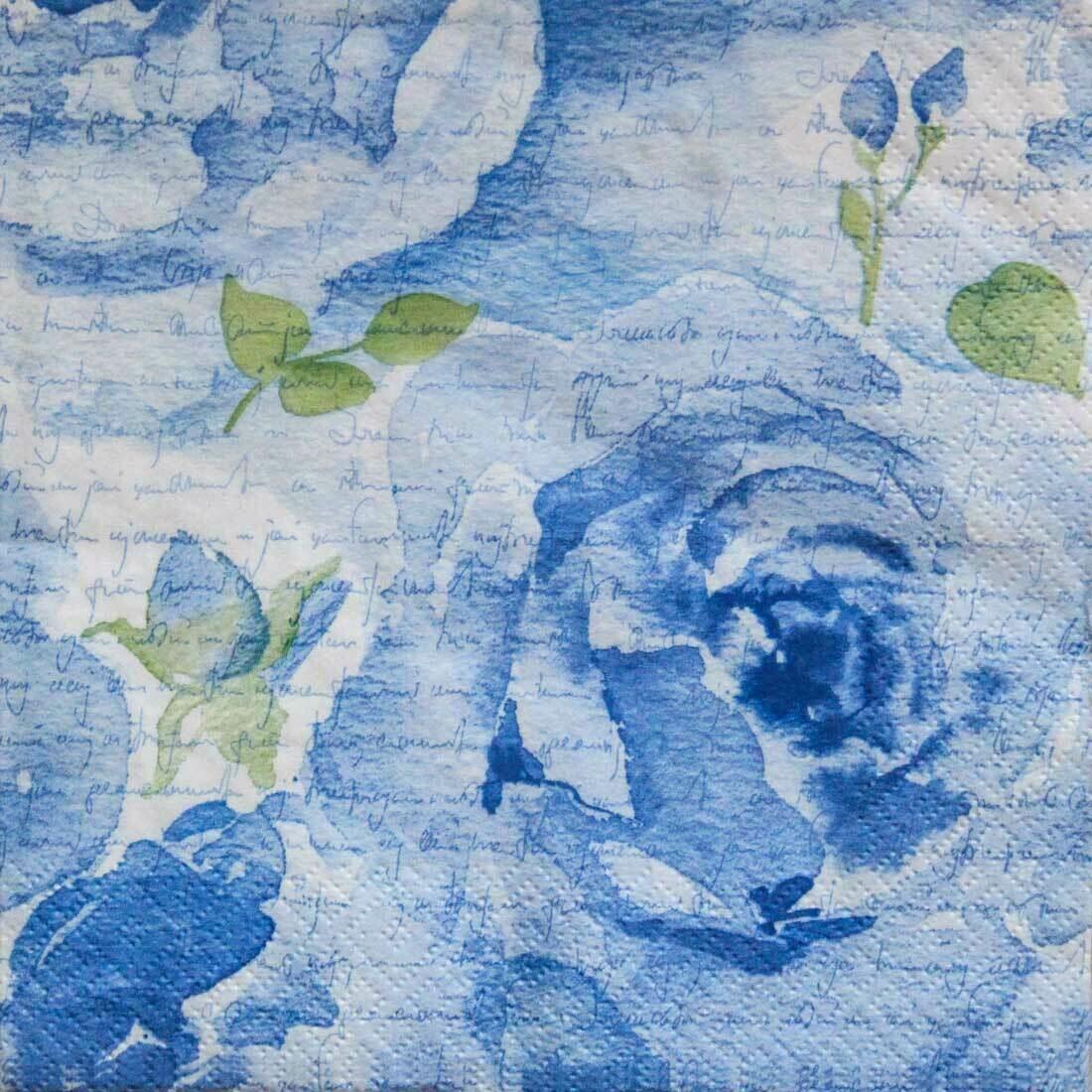 Decoupage Paper Napkins - Floral -Rosa Delicada Blue 13x13 (1 Sheet)