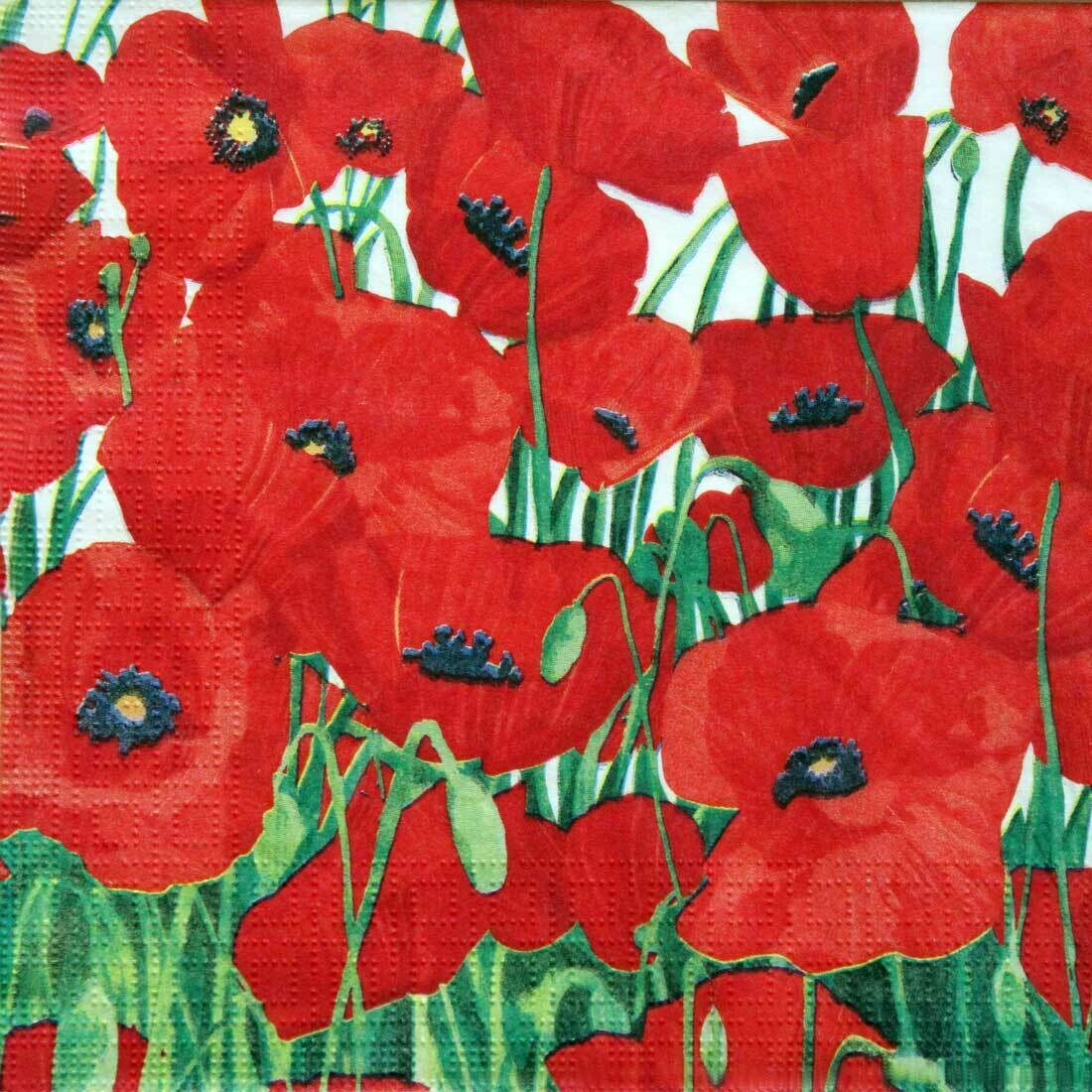 Decoupage Paper Napkins - Floral - Red Poppies 13x13 (1 Sheet)