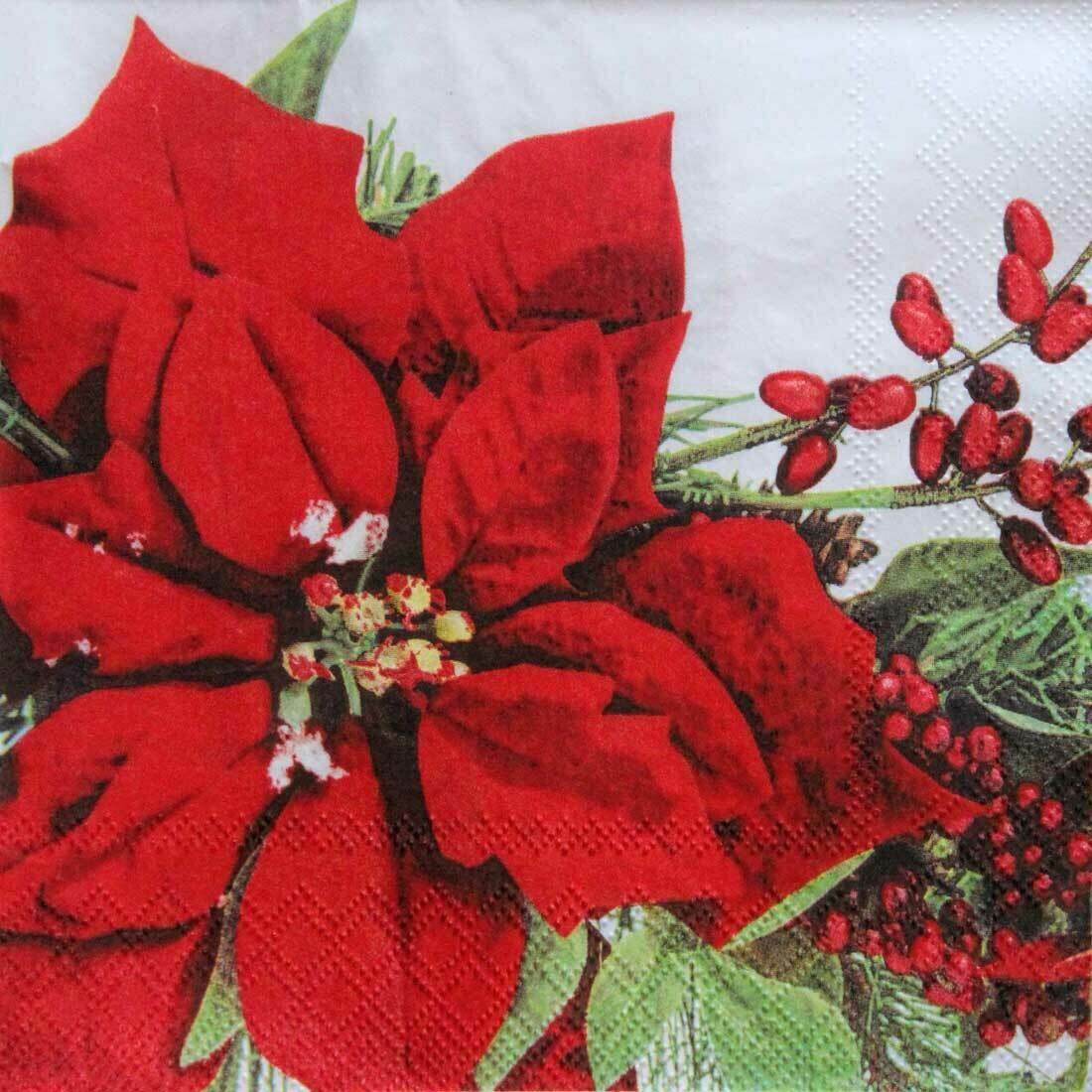 Decoupage Paper Napkins - Floral - Amilia Rot 13x13 (1 Sheet)