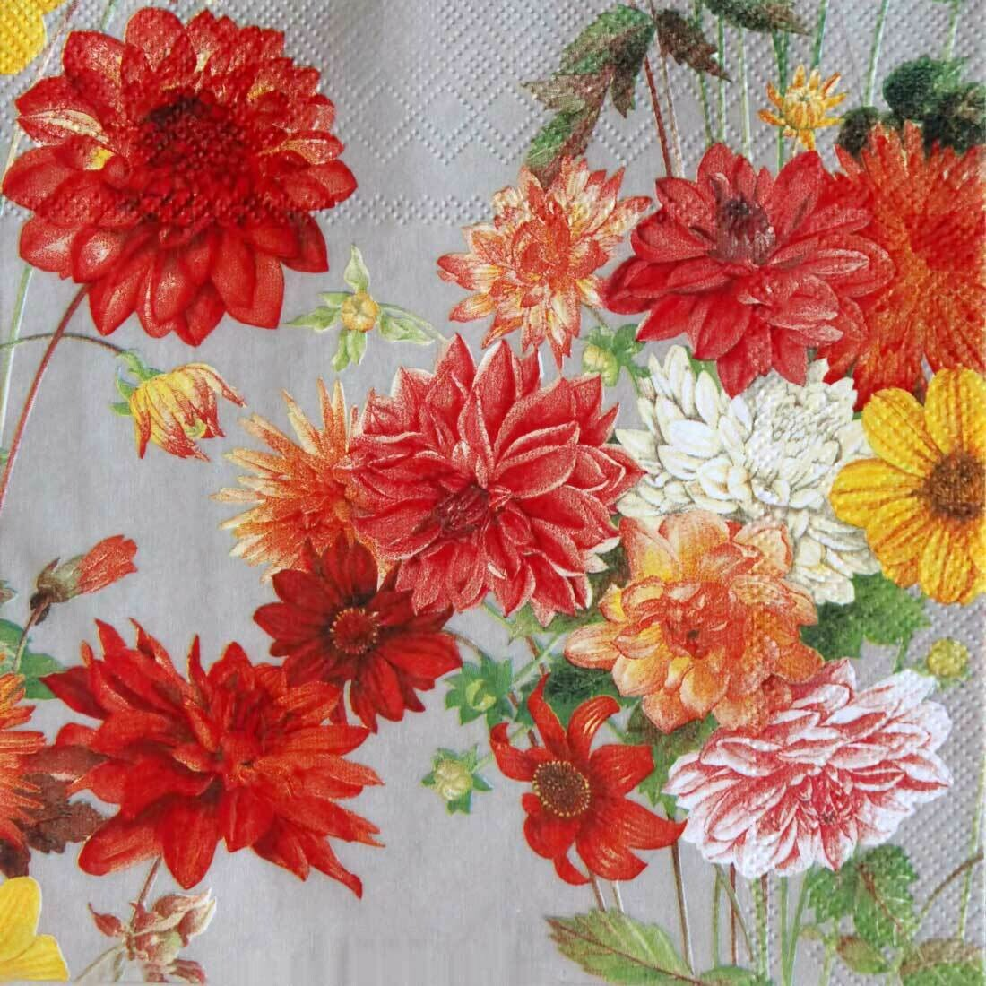 Decoupage Paper Napkins - Floral - Dahlia 13x13 (1 Sheet)