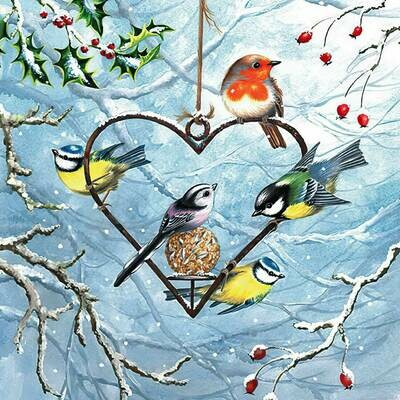 Decoupage Paper Napkins - Bird - Heart Shaped Feeder (1 Sheet)
