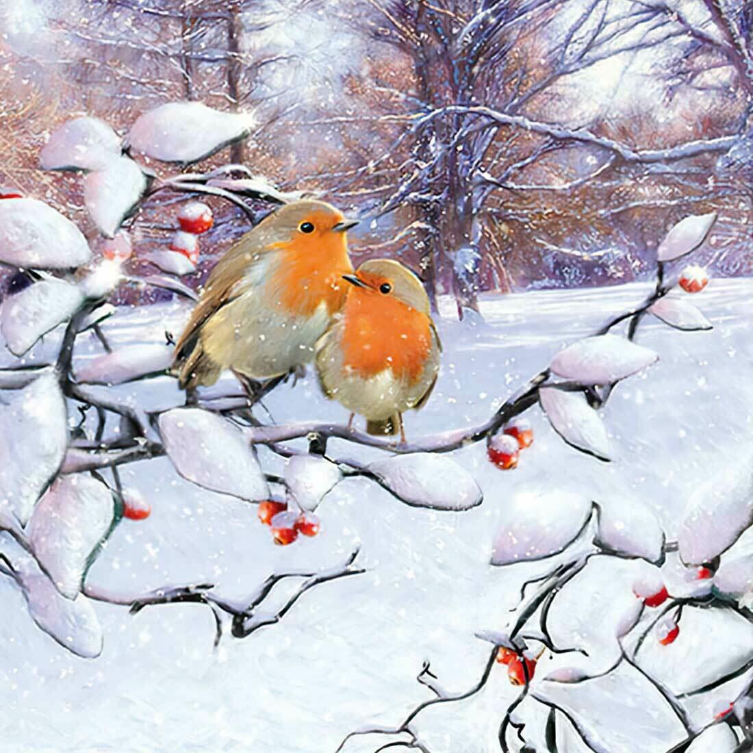 Decoupage Paper Napkins - Bird - Robins On Branch (1 Sheet)