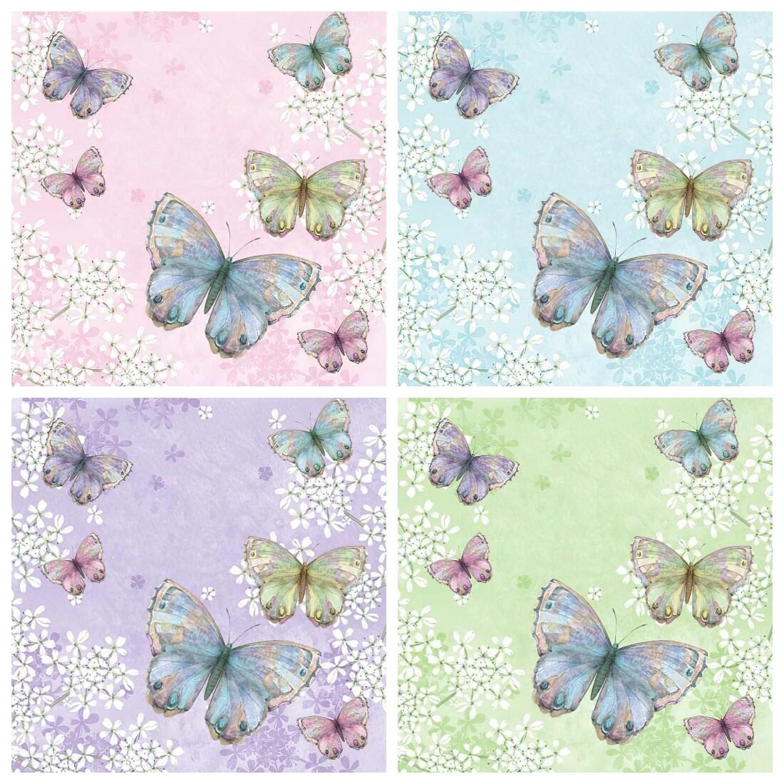 Decoupage Paper Napkins - Butterflies 8 (4 Sheets)