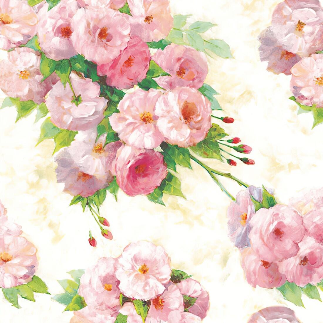 Decoupage Paper Napkins - Floral - Arianna Cream 13x13 (1 Sheet)