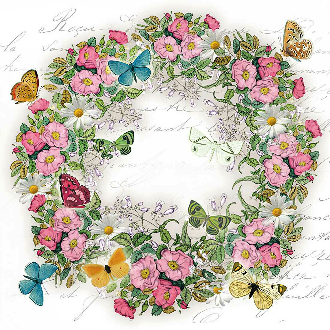 Decoupage Paper Napkins - Floral - Wreath of Flowers with Butterflies 13x13 (1 Sheet)