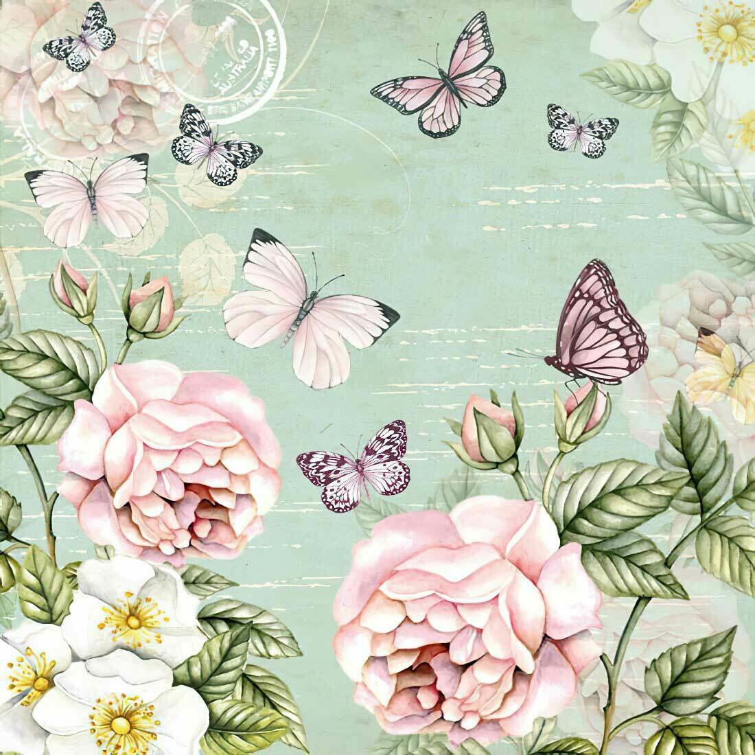 Decoupage Paper Napkins - Floral -Botanical Green with Butterflies 13x13 (1 Sheet)