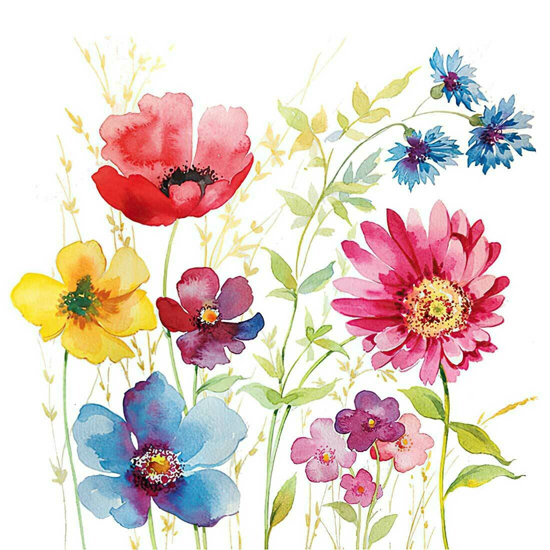 Decoupage Paper Napkins - Floral - Aquarell Meadow 13x13 (1 Sheet)
