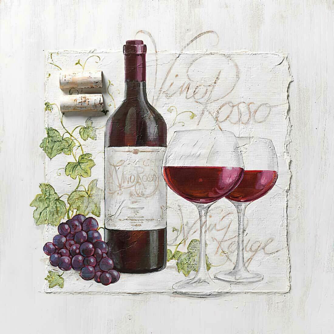 Decoupage Paper Napkins - Wine - Vino Rosso 13x13 (1 Sheet)