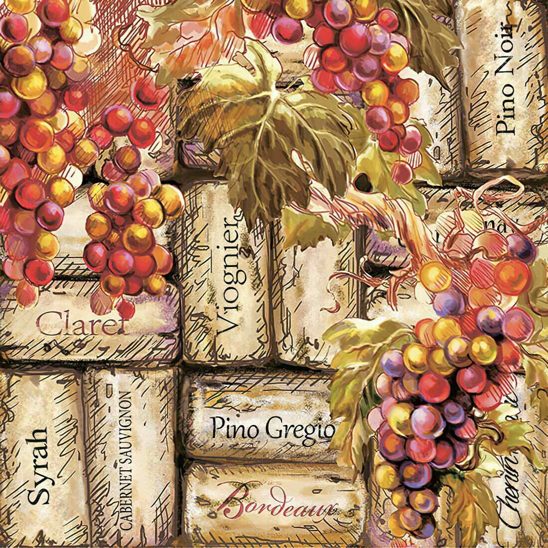 Decoupage Paper Napkins - Wine - Grapes and Corks 13x13 (1 Sheet)