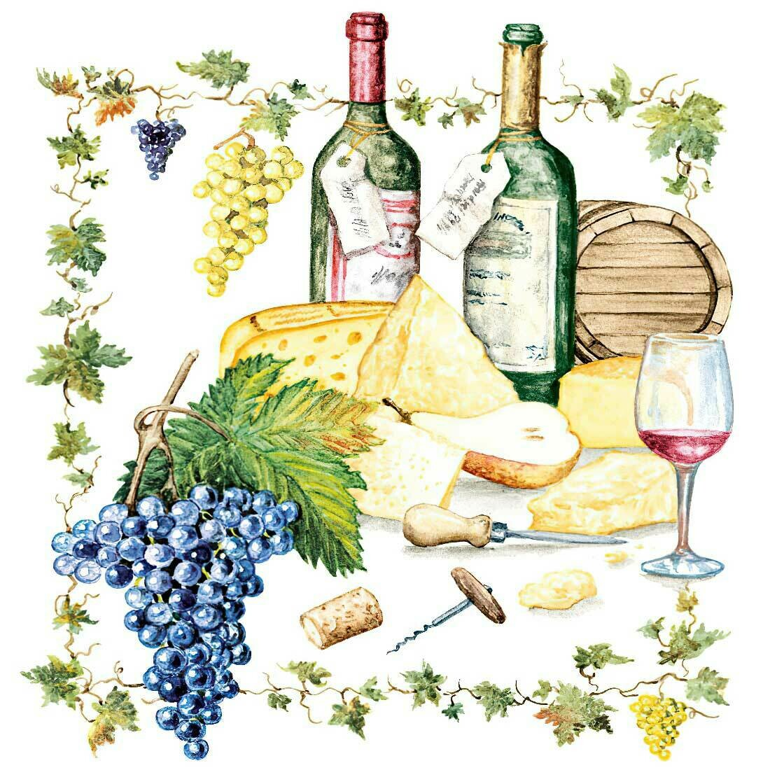 Decoupage Paper Napkins - Wine And Cheese 13x13 (1 Sheet)